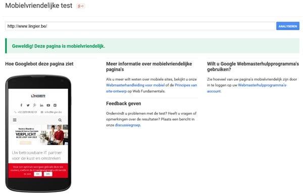 Website aangepast voor smartphone
